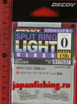 Decoy Split Ring Light #0 15lb silver 20шт. заводные кольца