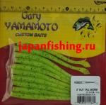 """Gary Yamamoto Kut Tail Worm 4"""" (11640) Chartreuse/BLK FLK"""