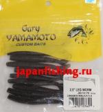 "Gary Yamamoto Leg Worm 2.5"" (03621) Cinnamon W/Black Flk 10шт."