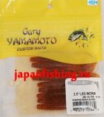 "Gary Yamamoto Leg Worm 2.5"" (03669) Pumpkin W/BLK & GRN 10шт."